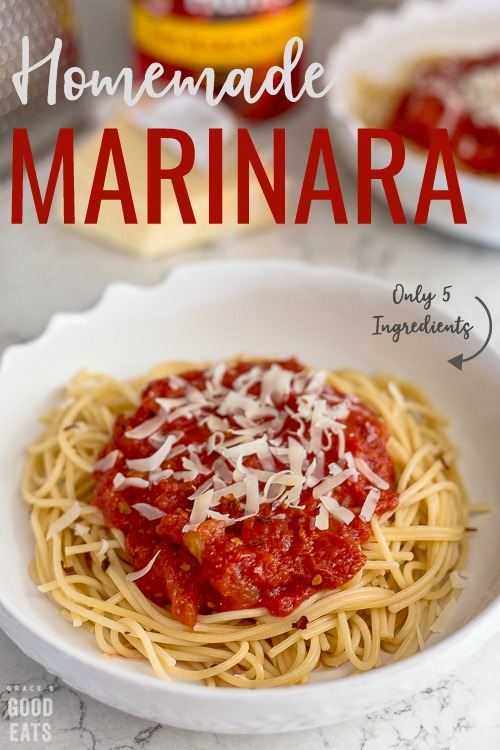 Marinara recipe with only five simple ingredients and ready in less than thirty minutes.  Add crushed red pepper flakes to up the flavor and add a little heat to this basic sauce.