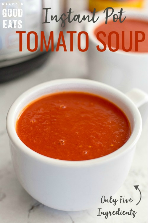 Instant Pot Tomato Soup is an easy family favorite made with only five ingredients.  Add a splash of cream to this simple recipe for a creamy, delicious soup!