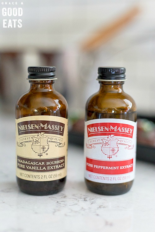 bottles of Nielsen-Massey vanilla extract and peppermint extract