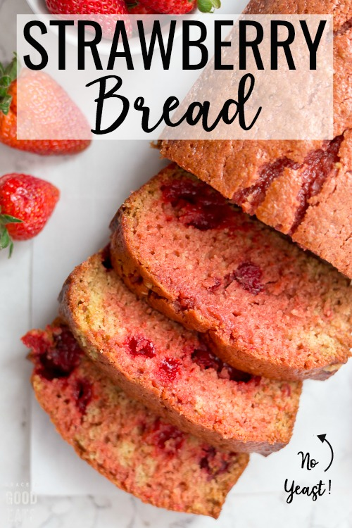 This delicious Strawberry Bread is so moist and bursting with strawberry flavor.  I like mine toasted for breakfast with a big pat of salted butter.