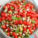 overhead view of watermelon salad