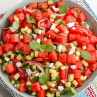 overhead view of watermelon salad