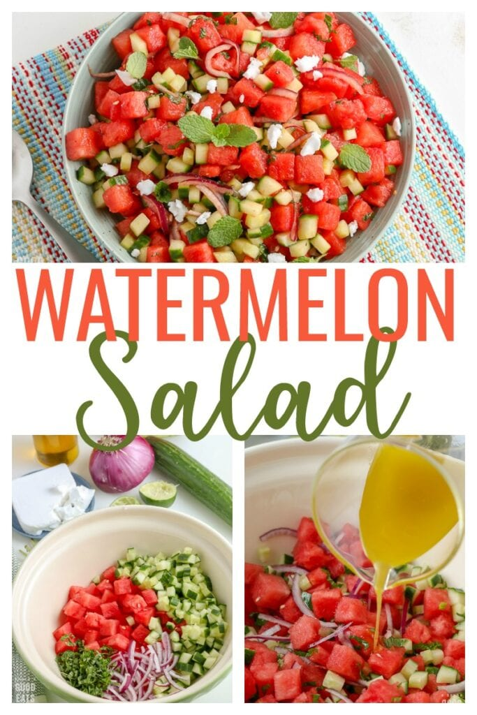 collage of images showing the steps to make watermelon salad