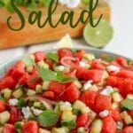 "bowl of produce with the words ""watermelon salad"" above"