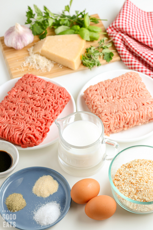 ingredients to make meatballs- meat, cheese, breadcrumbs, eggs, seasonings