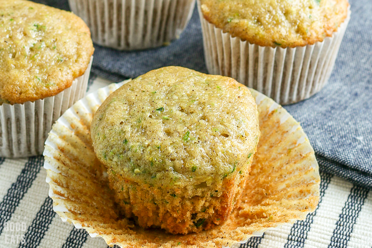 unwrapped baked zucchini muffin