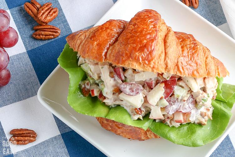 close up of chicken salad sandwich