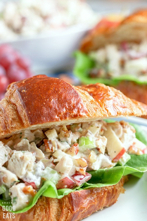 chicken salad recipe with grapes on a croissant