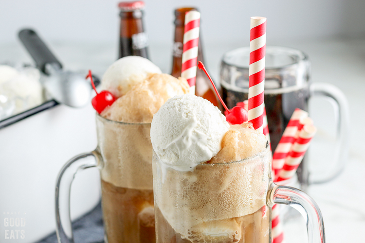 zoomed in view of ice cream floats