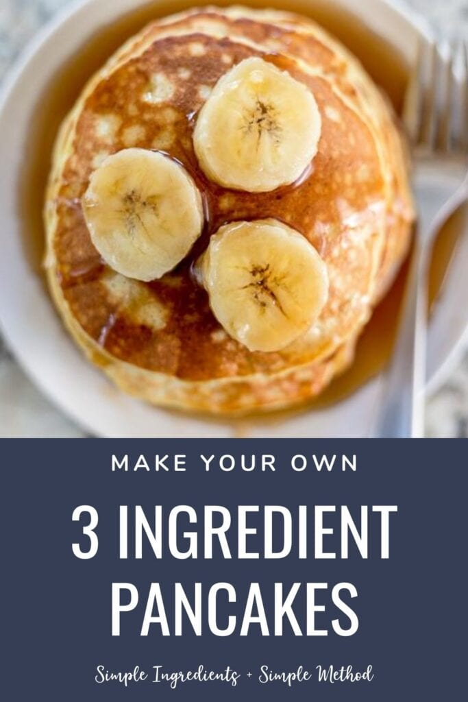 3 ingredient pancakes topped with bananas on a plate with a fork