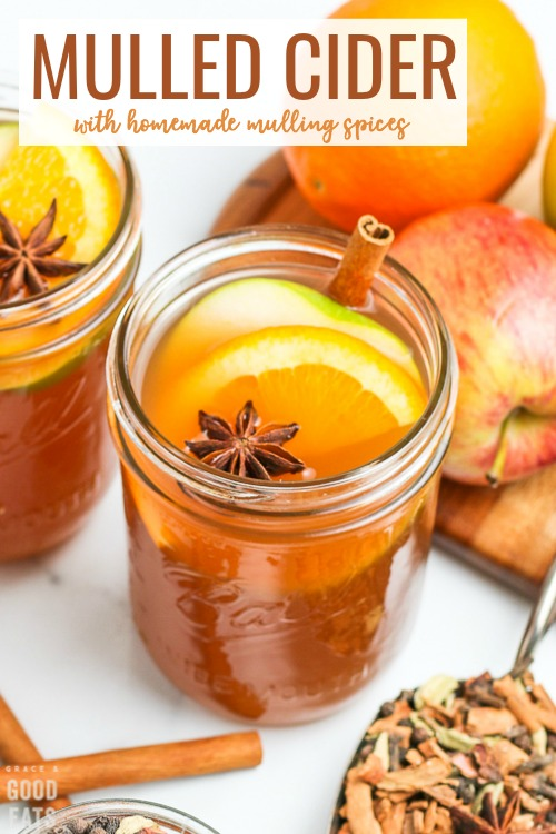 Mulled Cider is delicious fall drink made from a blend of mulling spices and apple cider. I love to enjoy this warm, with my favorite pumpkin desserts, or with a splash of rum for a yummy adult version.