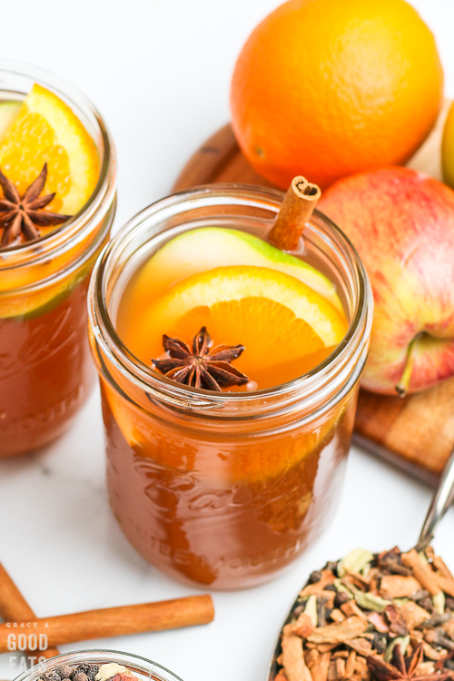 apple cider in a glass jar
