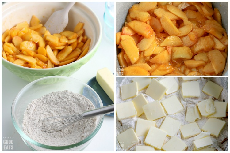 close up for sliced peaches, flour with butter, and a bowl of ingredients