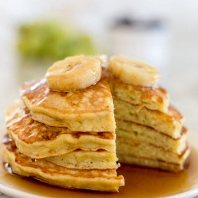 banana pancakes with a triangle piece cut out
