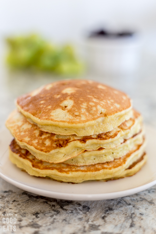 3 ingredient pancakes stacked on a plate