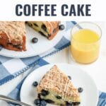 Blueberry Coffee Cake that is bursting with blueberries and a subtle lemon flavor. Finish with a crumb topping and quick vanilla glaze for a simple and delicious breakfast or dessert!