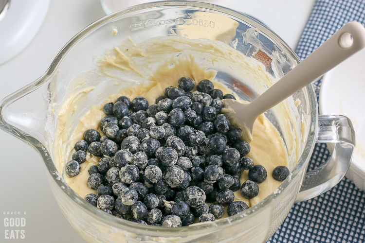 glass mixing bowl with blueberries