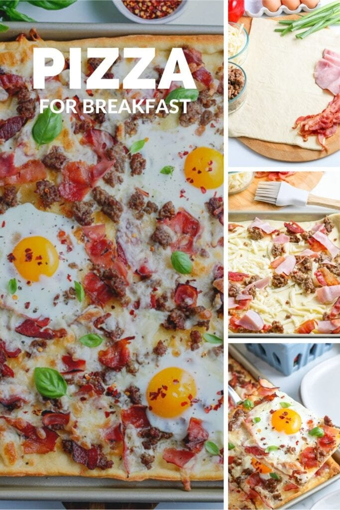 Breakfast Pizza made with store-bought pizza dough, shredded cheese, and your choice of toppings. This quick and easy breakfast pizza recipe is a great way to start the morning!