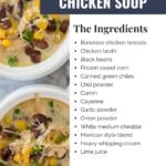 Green Chile Chicken Soup made with chicken breasts, black beans, sweet corn, and southwestern spices. This Instant Pot chicken recipe is a cross between chicken tortilla soup and white bean chicken chili.
