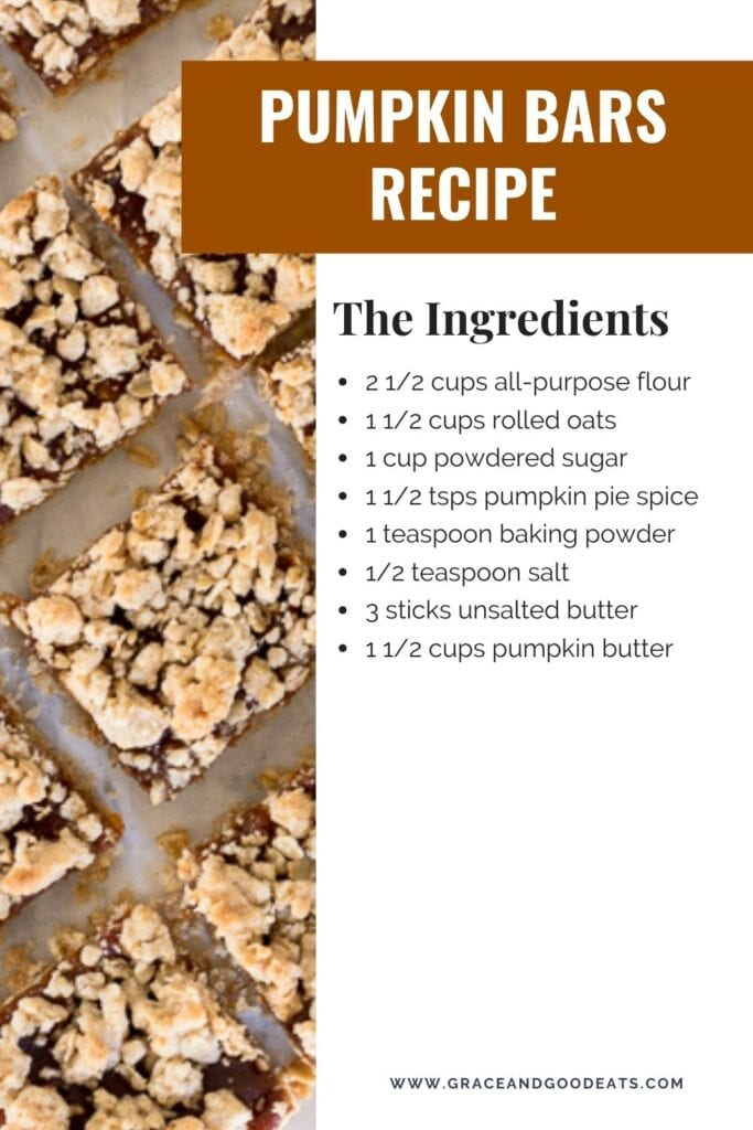 Pumpkin Bars Recipe made with pumpkin apple butter and a simple streusel crumb crust. These easy pumpkin bars come together quickly and are delicious with a dollop of whipped cream.