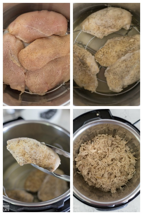 raw chicken in the Instant Pot, cooked chicken, tongs holding cooked chicken, shredded chicken in the Instant Pot