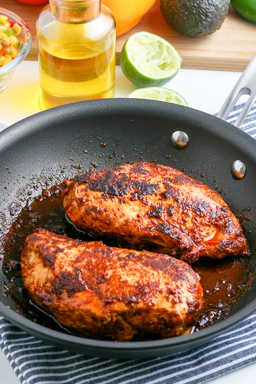 chicken breast that has been seasoned and cooked in a skillet